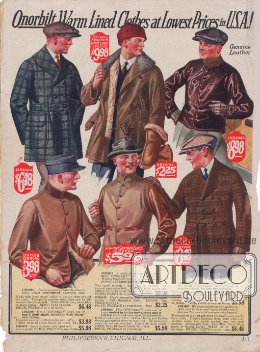 """Jacken für Männer. Die 1. Jacke von oben und die 3. Jacke von oben sind sog. """"mackinaw coats"""", kurze, doppelreihige Jacken mit breitem Kragen, großen Taschen und Gürtel aus Wollmischstoffen. Die anderen Jacken sind vor allem für die Arbeit gedacht. Sie sind aus """"Moleskin"""" (auch """"Englischleder"""", schwerer Baumwollstoff) gearbeitet."""