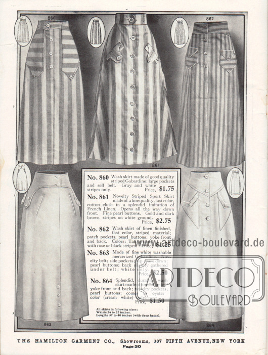 Waschbare Damenröcke aus gestreiften und unifarbenen Stoffen. Die verwendeten Stoffe sind Gabardine, Baumwolle, merzerisierte Gabardine und Ramie (Chinagras, leinenartiges Gewebe).Die Röcke besitzen pattenartig aufgesetzte Gürtel, eingearbeitete oder aufgesetzte Taschen sowie perlmuttartig schimmernde Knopfleisten.