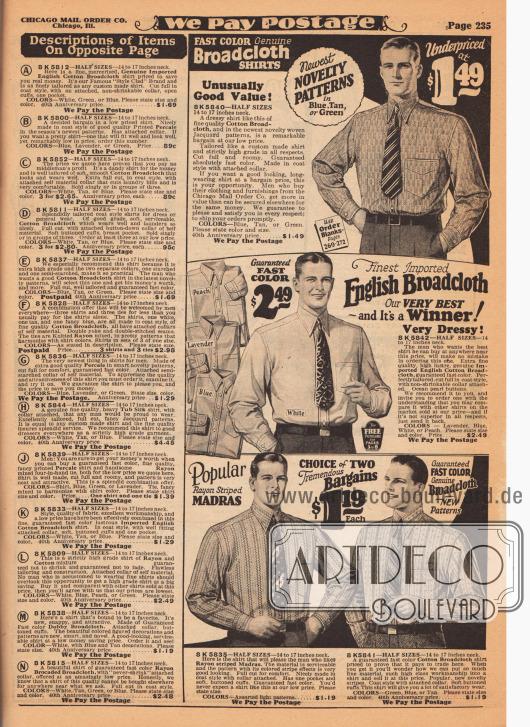 """In der linken Spalte sind die Beschreibungen für die Hemden auf der gegenüberliegenden Seite zu finden. Rechts werden Herrenhemden aus Baumwoll-Breitgewebe sowie aus Rayon gestreiftem Madras angeboten. Die beiden Hemden unten werden unter dem Motto """"zwei zum Preis von einem"""" angeboten."""