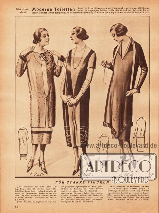 9224: Foulardkleid für stärkere Damen. Der lange Kasack öffnet sich vorn über einem weißen Unterkleid, dessen breiter Stoffrand einfarbig abgesetzt ist. Harmonierende Garnitur an den Ärmeln. Den schmal eingerollten Ausschnitt hält ein Schleifchen zusammen.9225: Abendkleid aus negerbraunem Crêpe Satin und goldgelbem Crêpe Georgette für starke Figuren. Stickerei im Farbenton des leichten Gewebes schließt den unteren Rand des Hemdkleides bordürenartig ab. Die vorn in halber Höhe zusammentretenden Stoffränder vereinigt eine Bandschleife. Kurze Ärmel.9226: Nachmittagskleid aus blauem Crêpe Marocain, für stärkere Figuren besonders geeignet. In Hüfthöhe geteilt, setzt vorn ein spitz ausgeschnittener, rüschenbesetzter Schoßteil an, wodurch ein Kasack-Effekt entsteht. Zwei lose hängende Blenden bilden die Verlängerung des Kragens. Eng anliegende Ärmel.
