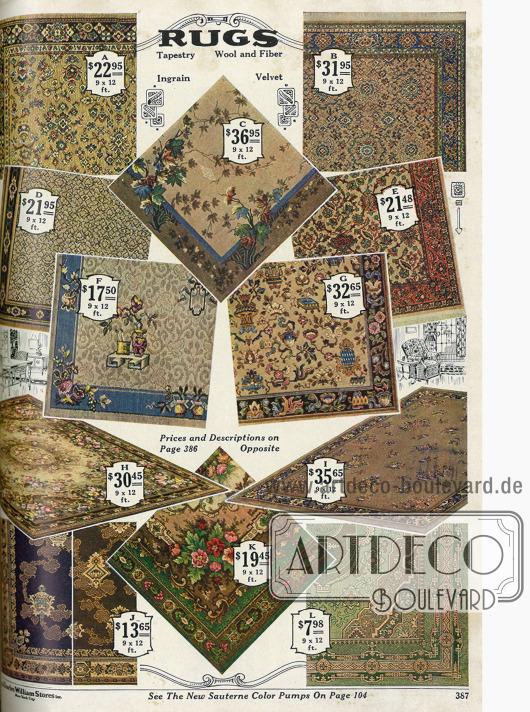 Teppiche aus Samt mit persischen Mustern oder Blumenornament.