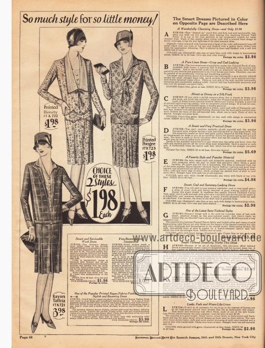 Drei schlichte Damenkleider aus bedrucktem Barchent (grober Baumwoll-Leinen Mischstoff), bedrucktem Seidenstoff und bedrucktem Rayon-Taft. Eingearbeitete Keller- und Quetschfalten geben den schmalen Röcken die benötigte Weite. Rechts stehen die Erläuterungen für die Modelle auf der folgenden Seite 45.