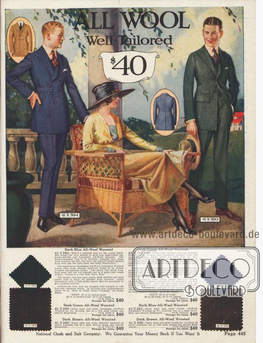 Zwei exklusive Herrenanzüge aus reiner Wolle für jeweils 40$. Die Anzüge sind in dunklem Blau , Braun oder Grün erhältlich.