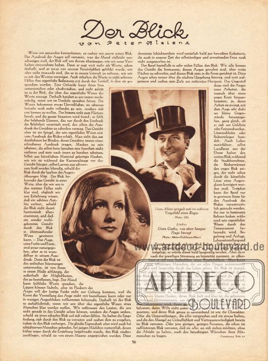 Artikel:Mielenz, Peter, Der Blick.Mit zwei Fotografien von Hans Albers (1891-1960) und Greta Garbo (1905-1990).Fotos: Ufa und Metro-Goldwyn-Mayer