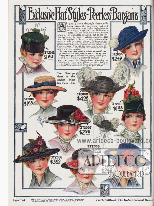 Kleidsame Damenhüte, mal einfach gehalten, mal extravagant. Ein Großteil der Hüte wird durch Popmons (Hut oben links), kleine Blüten oder auch große Federarrangements (schwarzer Hut, Mitte) aufgewertet. Einfache Hüte werden durch Bänder und Schleifen verziert, wie der strohfarbene Kordhut (Mitte links). Auch Turbane und turbanähnliche Hüte ohne Krempe sind 1916 in Mode (Modell oben links, Modell Mitte rechts).