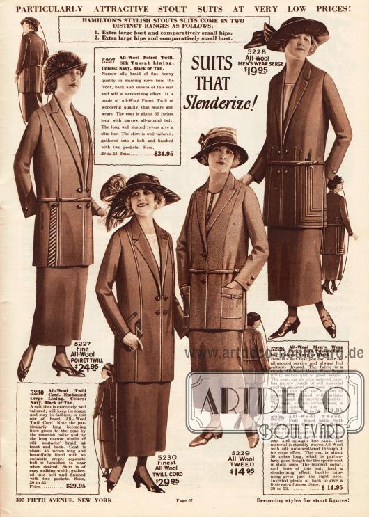 """""""Kostüme die verschlanken!"""" (engl. """"Suits That Slenderize!"""").Kostüme aus Poiret Wolle, Woll-Kord, Woll-Tweed oder Woll-Serge für die stärker gebaute Dame.Die ersten beiden doppelreihigen Kostümjacken präsentieren vertikal aufgenähte Stoffbändchen und Soutache-Stickerei sowie tiefgehende Revers, die einen optischen Verschlankungseffekt erzielen sollen. Danach folgen ein einreihiges Sportkostüm mit aufgesetzten Taschen sowie ein Kostüm, das ebenso wie die ersten Modelle aufgesetzte Stoffbänder aus Eigenmaterial an den Seiten der Kostümjacke zeigt."""