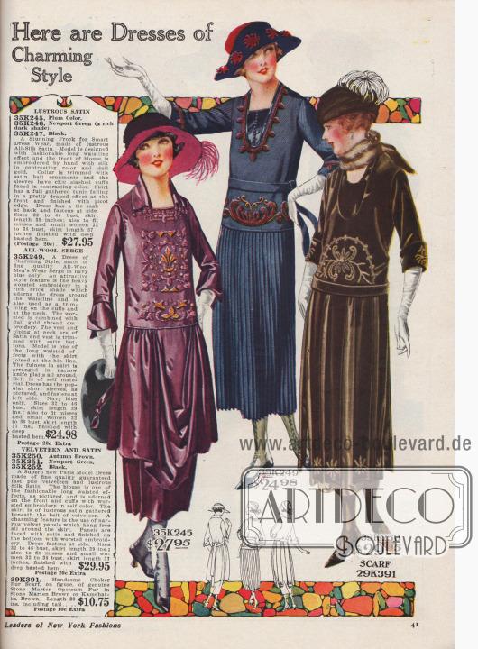 """""""Hier sind Kleider von bezauberndem Stil"""" (engl. """"Here are Dresses of Charming Style""""). Schöne Tages-, Straßen und Nachmittagskleider für 24,98 bis 29,95 Dollar.  35K245 / 35K246 / 35K247: Gürtelloses Nachmittagskleid mit modisch verlängerter Taillenlinie aus glänzendem Seiden-Satin mit dreiviertellangen Ärmeln, bestellbar in den Farben Zwetschken-Lila, dunklem Newport Grün oder Schwarz. Vorderseite der Taille mit reicher, von Hand ausgeführter, mattgoldener Seidenstickerei. Kragen mit Satin-Kugeln. Tief angesetzte und drapierte Tunika. 35K249: Marineblaues Woll-Serge Kleid mit rundum fein plissiertem Rock (Messerplissee) und neuer, tiefer Taille. Halsausschnitt, Unterärmel und Hüfte mit ornamentaler Stickerei. Westeneinsatz bzw. Plastron mit Paspel aus Satin sowie mit Satin bezogenen Knöpfe. 35K250 / 35K251 / 35K252: Erstklassiges Nachmittagskleid aus Samt und schimmerndem Seiden-Satin, erhältlich in den Farben Herbstbraun, Newport Grün oder Schwarz. Kammgarnstickerei im Taillenbereich und an den umgeschlagenen, halblangen Unterärmeln. Lange, lose Paneele aus Samt fallen über den Unterrock aus hellerem Seiden-Satin. Enden der Paneele bestickt. 29K390: Pelzschal (bzw. Pelzkragen oder Würger) aus echtem Steinmarder-Opossum Pelz, erhältlich in Steinmarder-Braun oder Kamtschatka-Braun, zum Preis von 10,75 Dollar."""