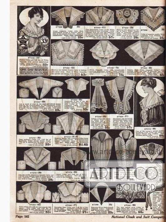 Unterschiedlichste Garnituren zum Aufnähen und Verschönern der selbst genähten Kleidung: Ärmelaufschläge, Kragen, Fichus, Jabots und westenartige Spitzengarnituren.