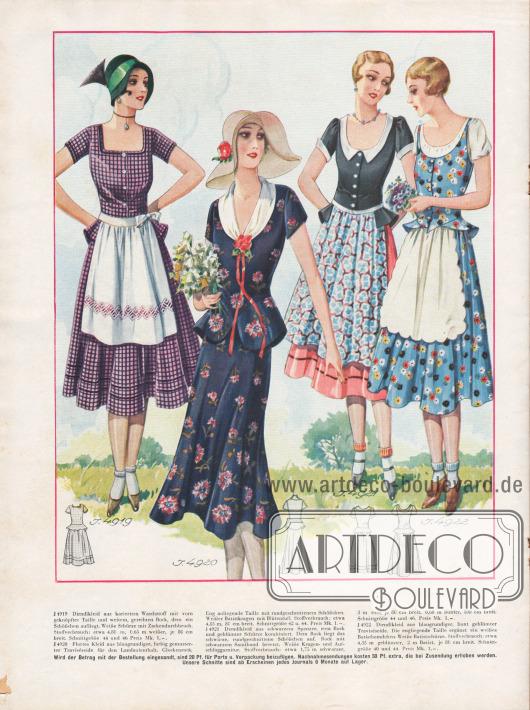 Auch Trachtenmode ist 1930 beliebt.Die Dirndlkleider im Hintergrund sind aus kariertem Waschstoff, schwarzem und rosa Spenzer und blau-bunt geblümter Traviséseide. Die Dirndlkleider bestehen aus geknöpften Taillen mit Schößchen (abstehender Hüftvolant) und Schürzen.Das Kleid im Vordergrund besteht aus blauer, farbig gemusterter Traviséseide und ist mit einem weißen Batistkragen versehen. Ein Blütentuff bildet den Kragenabschluss.