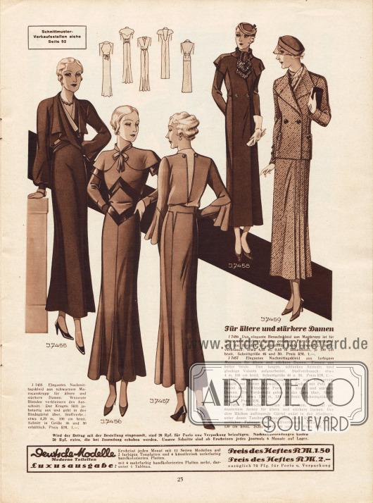 Kleidung für ältere und stärkere Damen.7455: Nachmittagskleid aus schwarzem Marocain-Krepp mit weinroten Blenden und jabotartigem Kragen.7456: Besuchskleid aus Mattkrepp, dessen Überärmel und Blenden aus glänzender Seide gefertigt sind.7457: Nachmittagskleid aus farbigem Marocain und hellen Seideneinsätzen. Ärmel mit Volants.7458: Übergangsmantel aus schwarzem Bouclé mit flotter, pelzberandeter Krawatte und capeartigen Schultern.7459: Kostüm aus grobem, diagonal gemustertem Jersey. Der Rock besitzt eine linksseitliche Faltengruppe.