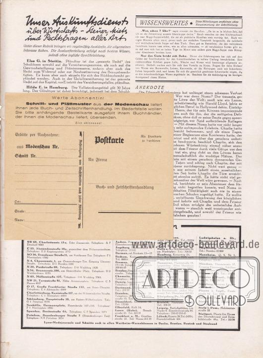 """Lose beiliegende Postkarte: Vorderseite der Postkarte (Maße: 14,5 x 12,7 cm / 5,71 x 5,00 in) zum Bestellen von Schnittmustern und Abplättmustern. """"Werte Abonnentin! Schnitt- und Plättmuster aus der Modenschau liefert Ihnen jede Buch- und Zeitschriftenhandlung. Im Bedarfsfalle wollen Sie bitte anhängende Bestellkarte ausgefüllt Ihrem Buchhändler, der Ihnen die Modenschau liefert, übersenden. Hier abtrennen! Erbitte per Nachnahme: Modenschau Nr. …… Schnitt Nr. …… Ort: …… Straße…… Name: …… → Anfertigung von Maßschnitten nach jeder Abbildung ← Postkarte (Als Postkarte zu frankieren) An Firma…… Buch- und Zeitschriftenhandlung""""."""