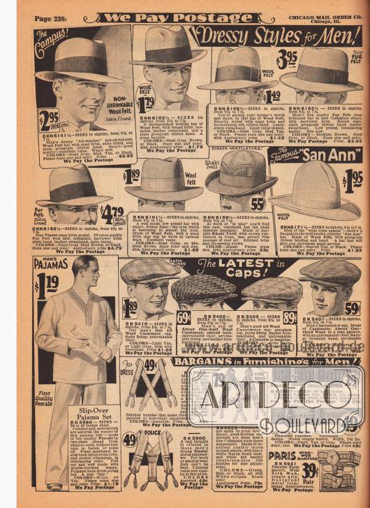 """Hüte aus Woll-Filz mit Ripsbändern (Fedora Hüte) und Schiebermützen aus Woll-Kaschmir für Männer. Unter den Hüten befinden sich auch ein Hut Ventilationslöchern und hinten hochgebogener Krempe aus Khaki Gewebe für 55 Cent sowie ein """"San Ann"""" Hut mit hohem Kopf für 1,95 Dollar. Unten werden ein Pyjama aus Perkal, drei Hosenträger aus elastischen Bändern, zwei Ledergürtel und ein Paar Strumpfbandhalter angeboten."""