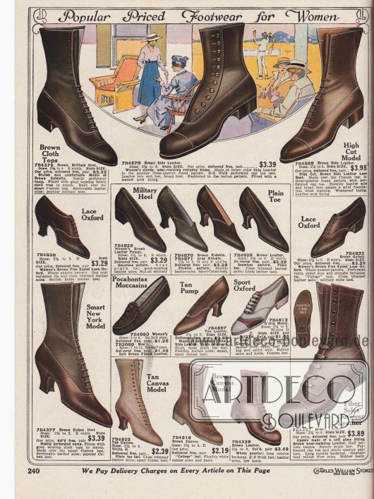 """""""Beliebte preisgünstige Schuhe für Frauen"""" (engl. """"Popular Priced Footwear for Women""""). Kurze Schnürstiefeletten mit überwiegend niedrigen, breiten Absätzen für den ganztägigen Gebrauch und für besten Tragekomfort aus Cabretta (südamerikanisches Haarschaffell), braunem Kanevas sowie nicht näher beschriebenen Lederarten. Des Weiteren finden sich Pumps in schlichten Stilen aus Ziegenleder, ein """"Pocahontas"""" Mokassin sowie ein zweifarbiger Sportschuh (hier """"Sport Oxford"""") aus weißem Kanevas und braunem Leder. Die Pumps zeigen geschwungene Louis XIV Absätze und spitze Kappen. Zurückhaltende Nähte und Lochnahtverzierungen."""
