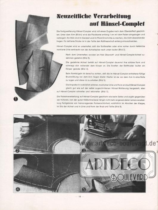 Artikel: O. V., Neuzeitliche Verarbeitung auf Hänsel-Complet. Eigenwerbung für die erfolgreiche Anwendung und Verarbeitung der Hänsel Fertigwattierung namens Hänsel-Complet. Fotos: Hänsel & Co. Aktiengesellschaft.