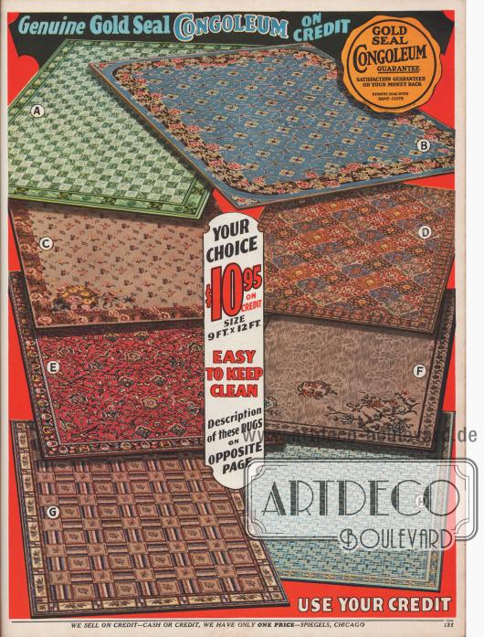 Leicht sauber zu haltende Congoleum (Linoleum) Teppiche für je 10,95 Dollar, Maße: 9 ft x 12 ft (274,32 x 365,76 cm).