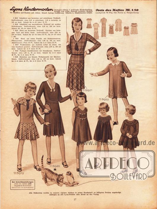 5919: Schulkleid aus kariertem und einfarbigem Wollstoff. Schnitt für 6 bis 10 Jahre.5920: Schulkleid aus marineblauem Wollstoff mit weißem Seidenkragen. Schnitt für 10 bis 14 Jahre.5921: Kleid aus kariertem Wollstoff. Garnitur aus farbigem Tuch und heller Seide. Schnitt für 12 bis 14 Jahre.5922: Kleid aus rotem Popelin mit Stickereimotiven. Pikeegarnitur. Schnitt für 4 bis 8 Jahre.5923: Festkleidchen aus dunklem Crêpe de Chine, mit rosa Samtband garniert. Schnitt für 4 bis 8 Jahre.5924: Farbiges Samtkleidchen mit Smockpasse. Schnitt für 2 bis 4 Jahre.5925: Kleidchen aus blauem Wollgeorgette mit Rüschenbesatz. Schnitt für 4 bis 6 Jahre.