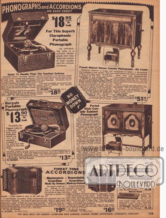 Tragbare Grammophone, Phonographen in Zierholzkonsolen, Akkordeons und Mundharmonikas. Konsolenphonographen, also Schallplattenspieler in Zierholzschränken aus Mahagoni oder Walnussholz, die auf Raten angeschafft werden können. Ebenso wie die Schrankschallplattenspieler werden die Kofferphonographen per Kurbel zum Laufen gebracht.