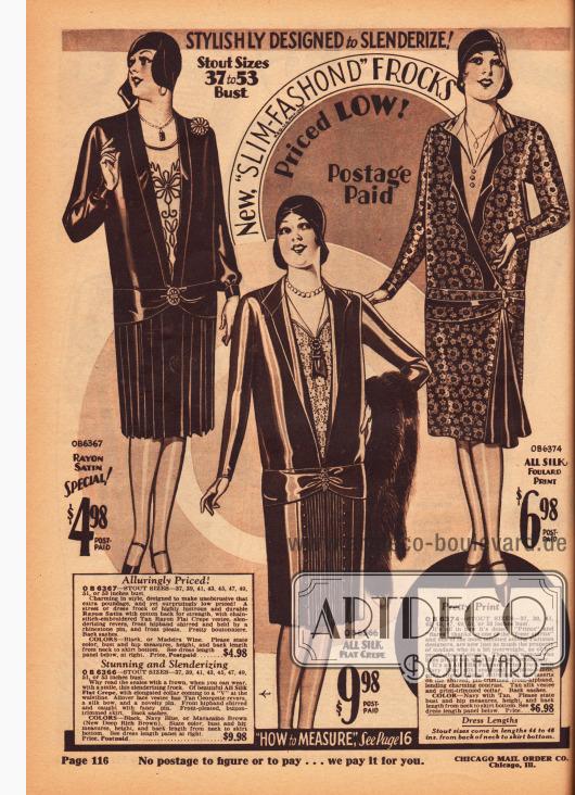 Tageskleider für Damen mit fülliger Figur aus Rayon-Satin, Seiden Krepp und bedrucktem Seiden- Foulard. Alle Kleider zeigen langgezogene Westeneinsätze, die die Linie verschlanken sollen, sowie sehr zurückhaltende Ornamente und Akzente. Die ersten beiden Modelle präsentieren plissierte Röcke, während das dritte Modell einen dunkelfarbigen, Falten werfenden Stoffeinsatz besitzt.