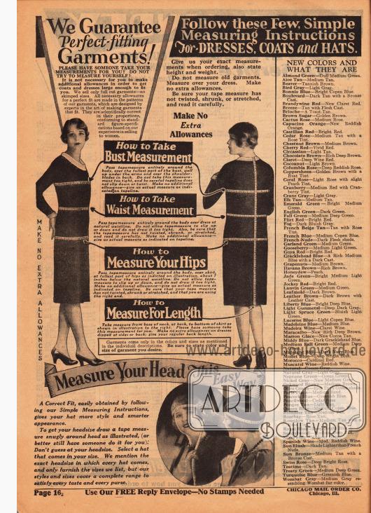 """Anleitung zum Maßnehmen bei Frauen für Kleidung und Hüte, damit der bestmögliche Sitz und das bestmögliche Passen der bestellten Kleider gewährleistet werden. In der Spalte rechts werden zudem die in den Artikelbeschreibungen im ganzen Katalog genutzten Farben genauer erläutert, so dass sich die Bestellerin beispielsweise unter den Farben """"Cedar Rose"""", """"Coconut"""" oder """"Neptune Green"""" etwas vorstellen kann."""