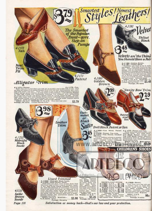 Kleidsame Schuhe für die modebewusste Frau und für junge Mädchen. Auch Abendschuhe aus Brokatstoff in Silber oder Goldschimmer finden sich oben in der Mitte.