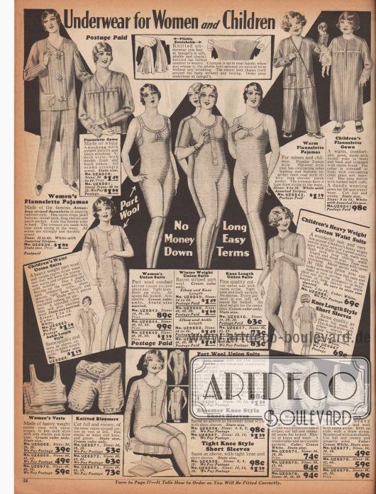 """""""Unterwäsche für Frauen und Kinder"""" (engl. """"Underwear for Women and Children""""). Hemdhosen, Pumphöschen und Unterhemden aus Baumwollgeweben und Woll-Baumwoll-Rayon-Gewebe mit langen oder kurzen Beinen und ebenfalls wahlweise kurzen oder langen Ärmeln für Frauen und Mädchen. Oben sind Nachthemden mit Knopfleiste und Pyjamas mit Knöpfen oder Posamentverschlüssen für Damen und Mädchen im Angebot. Die Nachtwäsche ist aus gestreiftem Amoskeag-Flanell gefertigt (Amoskeag → Stoff hergestellt von der Amoskeag Manufacturing Co. in Manchester, New Hampshire, USA)."""
