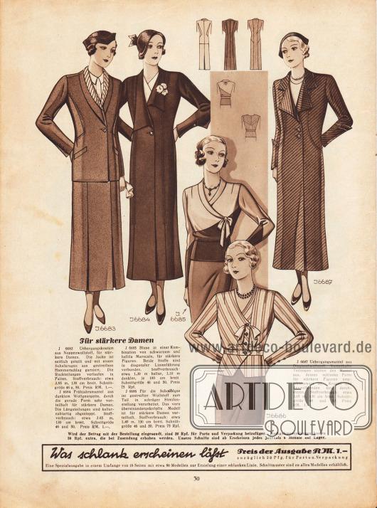 """""""Für ältere und stärkere Damen"""".6683: Übergangskostüm aus Noppenwollstoff, für stärkere Damen. Die Jacke ist seitlich geteilt und mit einem Schalkragen aus gestreiftem Hammerschlag garniert. Die Rockteilungen verlaufen in Falten.6684: Frühjahrsmantel aus dunklem Wollgeorgette, durch die gerade Form sehr vorteilhaft für stärkere Damen. Die Längsteilungen sind kellernahtartig abgesteppt.6685: Bluse in einer Kombination von schwarzem und hellila Marocain, für stärkere Figuren. Beide Stoffe sind in diagonaler Linienführung verbunden.6686: Für die Schoßbluse ist gestreifter Wollstoff zum Teil in schräger Streifenstellung verarbeitet. Das vorn übereinandergeknöpfte Modell ist für stärkere Damen vorteilhaft.6687: Übergangsmantel aus Diagonalwollstoff. Vorteilhafte Teilungen statten den Mantel aus, dessen schlanke Form für stärkere Figuren empfehlenswert ist. Kragen und Ärmelblenden sind durchgesteppt."""