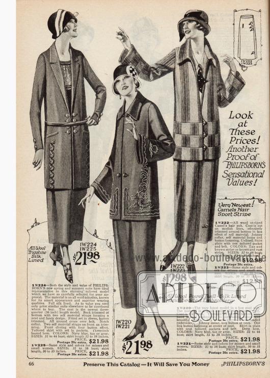 Doppelseite mit Kostümen für die mondäne Dame aus Woll-Trikotine, Woll-Poiret, Kamelhaar, Woll-Sport-Polo, Serge und kariertem Woll-Polo. Fast alle Modelle werden mit großen Knöpfen und nicht mit Gürteln geschlossen. Die Modelle erhalten ihren eigenen Charakter durch Borten (1. Kostüm), Stickereien (2. und 5. Kostüm), unterschiedlich angesetzten Stoffstreifen (3. Kostüm) oder dem Kontrast zwischen einfarbigem und kariertem Stoff (4. Modell).