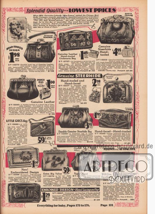 """""""Ausgezeichnete Qualität – Niedrigste Preise"""" (engl. """"Splendid Quality – Lowest Prices""""). Handtaschen, Beuteltaschen, Rahmenhandtaschen, Kuverttaschen und Geldbörsen für modebewusste Damen und junge Frauen, beworben von """"Miss France 1929"""" Germaine Laborde (1905-?). Die Handtaschen sind aus geprägten Echtledern (Ochsen oder Kalbsleder) oder genarbten Lederimitaten. Ein importiertes Modell mittig links für kleine Mädchen. Druck- und Klemmverschlüsse. Die Modelle besitzen mehrere Fächer oder auch einen Metallrahmen (z. B. aus Nickel). Einige wurden mit einem langen Gurt getragen oder unter den Arm geklemmt (engl. """"underarm bags"""" und """"envelope bags"""")."""