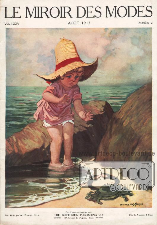 Titelseite der französischen Zeitschrift Le Miroir des Modes Nr. 2 vom August 1917. Zeichnung/Illustration: Walter [Godfrey] DeMaris (1877-1947).
