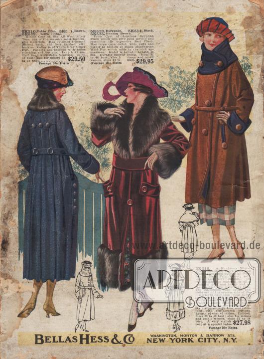 Winterliche Damenmäntel.