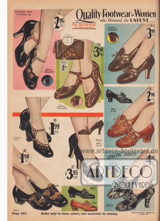 """Qualitätsschuhe für Frauen, die das Neueste verlangen… (A) 4 J 275 – ca. 2½ Zoll hoher Spitzabsatz. 4 J 276 – Kubanischer Absatz. GRÖSSEN 2½ bis 8. Weiten C, D, E. FARBE: Schwarz mit Blond. Geben Sie Größe, Weite und alle Nummern an, die auf dem Schuh aufgedruckt sind, den Sie tragen. Portofrei… 2,95 $. Eine späte Ankunft aus den Pariser Modesalons! Beachten Sie die Perforationen und die unterlegte Schleife aus blondem Chevreauleder, die zu den Riemen, Applikationen und Paspeln passt, die diesen modischen Schuh aus feinem, weichem Lackleder schmücken. Gedeckter Absatz mit Vul-kide gepolsterten Absätzen; feine Qualitäts-Ledersohle. Nicht abfärbendes Quartier-Innenfutter aus Leder. (B) 4 J 277 – ca. 2½ Zoll hoher Spitzabsatz. 4 J 278 – Kubanischer Absatz. GRÖSSEN 2½ bis 8. Weiten C, D, E. FARBE: Blattbraun mit Hellbraun. Geben Sie Größe, Weite und alle Nummern an, die auf dem Schuh aufgedruckt sind, den Sie tragen… 3,98 $. Neu! Exquisit! Sehr fein! Aus weichem, biegsamem echtem Ziegenleder sowie Lederbesatz mit Reptil-Narbung. Gedeckte Absätze mit Vul-kide; feine Ledersohlen; dekorative Zehenpartie. Nicht abfärbendes Quartier-Innenfutter aus Leder. Passende Ensemble-Tasche, unten. (C) 4 T 15274 - Das """"Tasche und Schuh""""-Ensemble ist eines der wichtigsten Merkmale der Mode von 1931 – und hier ist die umwerfende Tasche, die zu den umwerfenden Schuhen oben passt! Aus echtem Ziegenleder, mit Ledereinsatz aus genarbtem Reptilleder auf der Vorderseite. Griff mit Riemen auf der Rückseite. Schließt mit einem Talon-Reißverschluss mit Lederfransen. Schönes Rayon Moiré-Futter. Spiegel in separater Tasche. Eingenähtes Münzfach. Ca. 7½ x 5½ Zoll. Echter Wert! FARBE: Blattbraun mit Hellbraun… 2,98 $. (D) 4 J 550 – 2½ Zoll hoher Spitzabsatz. 4 J 551 – Kubanischer Absatz. GRÖSSEN: 2½ bis 8. Weiten C, D, E. FARBE: Rosinenbraun mit Blond. Bitte geben Sie Größe, Weite und alle Nummern an, die im Schuh aufgedruckt sind, den Sie gerade tragen. Preis, portofrei… 3,98 $. Durchdrungen von Sch"""