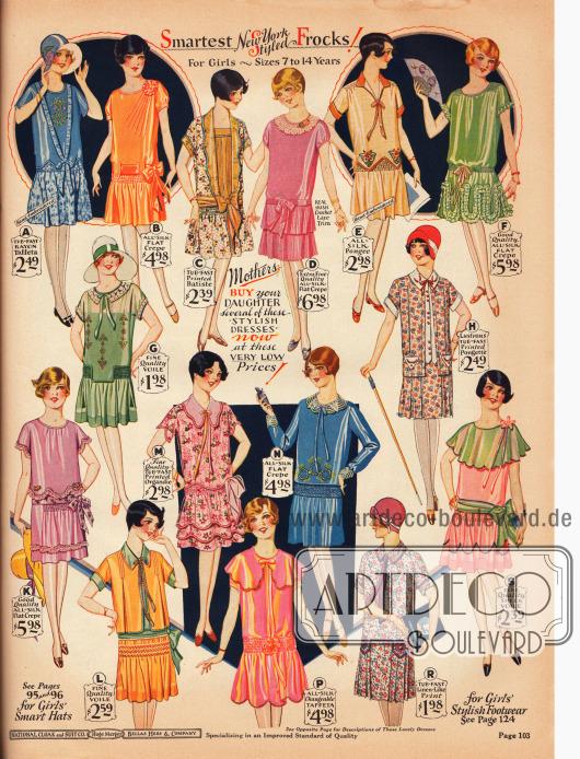 Feine Sommerkleider für 7 bis 14-jährige Mädchen aus Rayon-Taft, Seiden Krepp, bedrucktem Batist, Seidengewebe, Schleierstoff, bedrucktem Organdy, schimmerndem Taft sowie bedrucktem, leinenartigen Baumwollstoff. Viele der Kleider sind ärmellos und zeigen kleine Rüschen, Volants und Schleifchen.