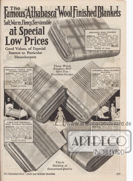 """""""Die berühmten 'Athabasca'-Wolldecken. Weich, warm, flauschig und zweckdienlich zu besonders niedrigen Preisen. Gute Werte, von besonderem Interesse für wählerische Hausfrauen. Diese warmen Decken werden Ihnen einen ausgezeichneten Dienst erweisen"""" (engl. """"The Famous 'Athabasca' Wool Finished Blankets. Soft, Warm, Fleecy, Serviceable at Special Low Prices. Good Values, of Especial Interest to Particular Housekeepers. These Warm Blankets Will Give You Excellent Service""""). Gestreifte und großkarierte Kuscheldecken und mit Wolle veredelte Baumwoll-Fleecedecken in Weiß mit Streifen in Hellbraun, Rosa oder Blau. Decken mit abgesteppten Kanten oder Borteneinfassung. Die Größe der Decken beträgt 64 x 76 bis 70 x 80 Inch (also 162,56 x 193,04 cm bzw. 177,8 x 203,2 cm)."""