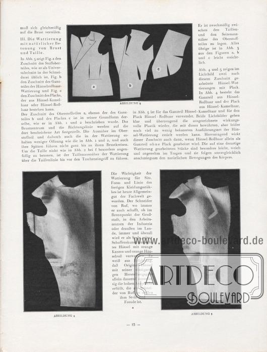 Artikel: Henschke, Bruno, Eine erprobte Hänselwattierung. Zuschnitt und Verarbeitung.  Drei fotografische Abbildungen zeigen korrekt verarbeitete Stoffstücke eines Sakkos. Fotos: Hänsel-Echo.