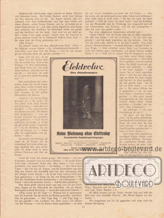 """Artikel (Novelle): Rosner, Karl (1873-1951), Das Gespenst der Liebe. Werbung: """"Keine Wohnung ohne Elektrolux"""", Elektrolux – Der Staubsauger."""