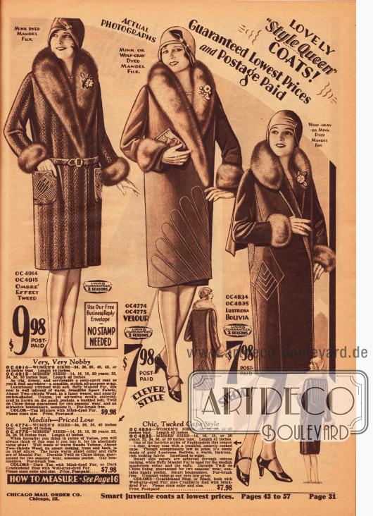 """Warme Wintermäntel für Damen aus Woll-Tweed, Velours und leicht glänzendem Woll-Bolivia. Alle Mäntel sind mit chinesischem Schafspelz (""""mandel fur"""") verbrämt. Leichte Stickereien, Biesen und Paspeln verzieren die Rockteile der Mäntel. Der rechte Mantel besitzt zudem ein langes Rückencape, das mit Biesen verziert wurde."""