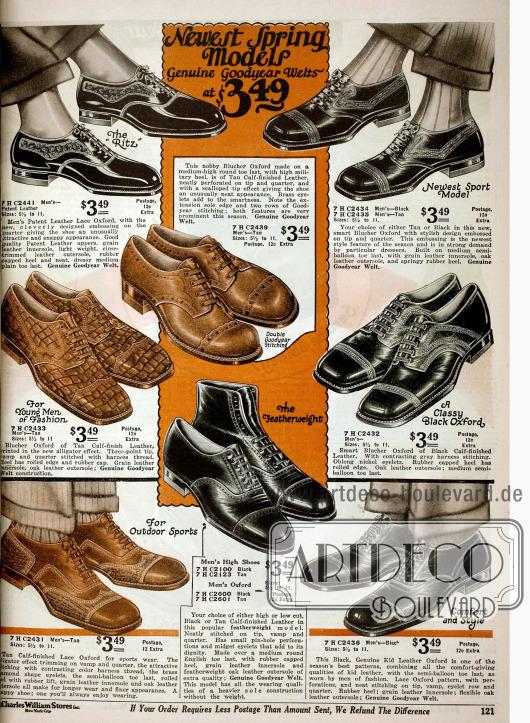 Doppelseite mit Oxford Herrenschuhen aus Kalbsleder und Lackleder mit Ziernähten und Zierperforationen.