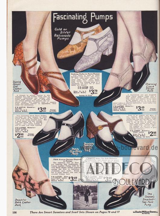 """Schnallenschuhe aus verschiedenfarbigem Leder und kubanischen Absätzen. """"Party Pumps"""" aus Balconade Stoff kann man oben im Bild sehen."""