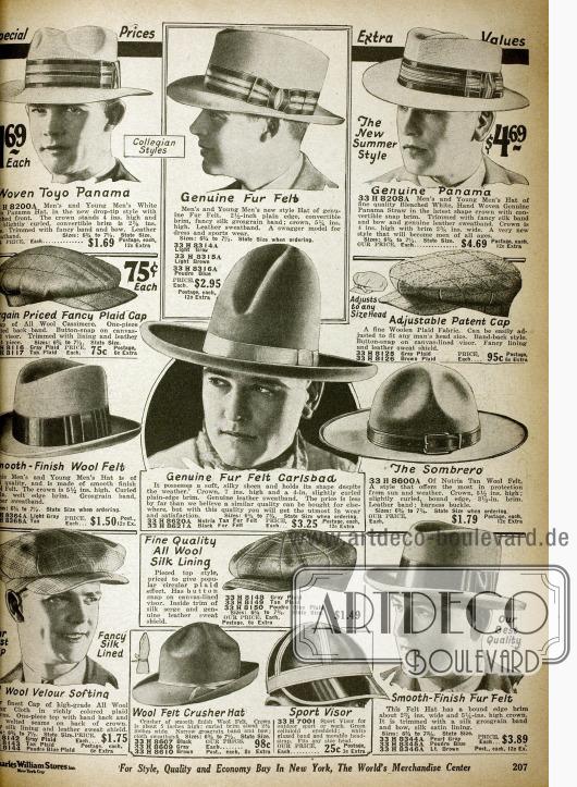 Doppelseite mit Hüten für Männer, wie z.B. Fedoras, Homburgs, Karlsbad Hüte, Panamas, Schiebermützen, ein Sombrero und ein Sport Visier. Die meisten Hüte sind mit Ripsbändern verschönert.