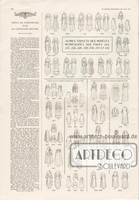 Artikel:Comtesse Régine, Idées de parisienne par la Comtesse Régine.Auf dieser Seite finden sich auch die Vorder- sowie die Rückansichten der Modelle der Seiten 224-226 und 228-232.