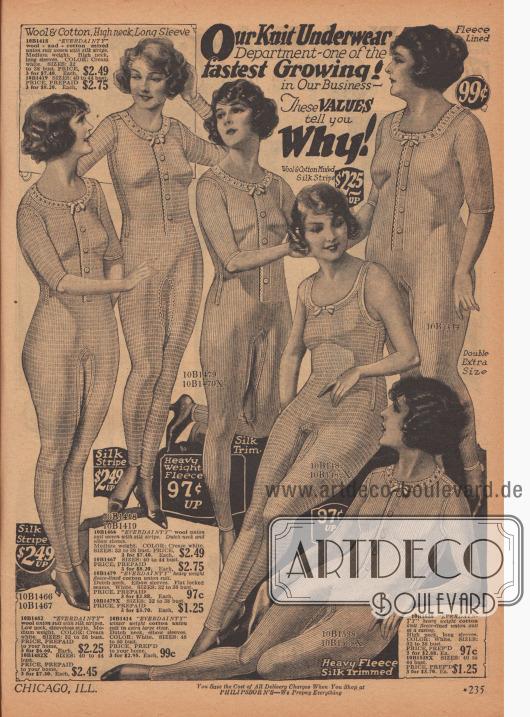 Gestrickte Hemdhosen mit und ohne Knopfleiste für verschieden stark gebaute Frauen. Die Hemdhosen können wahlweise mit langen, halben oder ohne Ärmel bestellt werden.