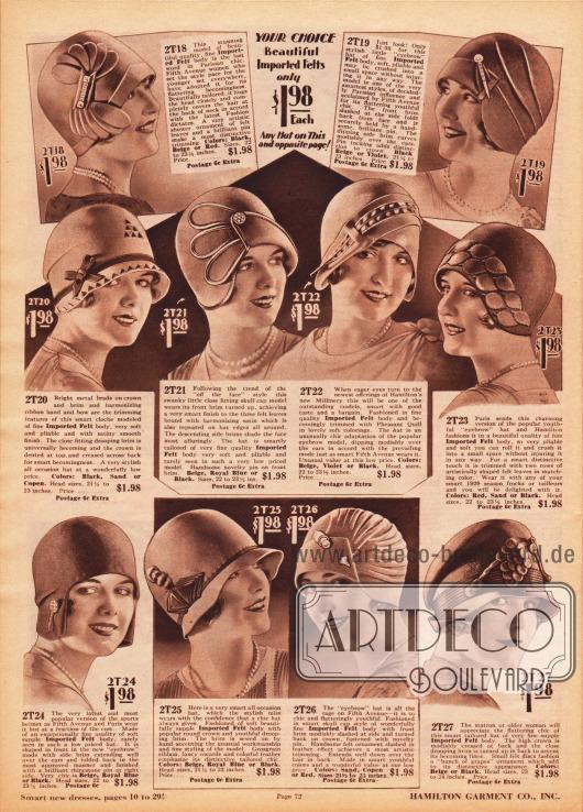 """Schlichte, aber fantasievoll gestaltete Kappen und Hüte aus Filz für Damen. Die Hüte wurden als halbfertige Hutstumpen aus Paris importiert und schließlich in den USA zum fertigen Verkaufsartikel weiterverarbeitet. Alle Modelle sind zum Einzelpreis von 1,98 Dollar erhältlich. Die Damenhüte zeigen Kniffe, strassbesetzte Hutnadeln, Schleifchen, Ornamente und Borten. Der überwiegende Teil orientiert sich an den aktuell modernen, eng anliegenden und krempenlosen """"skull caps"""". Unten rechts ein Modell für die nicht mehr ganz junge Frau."""