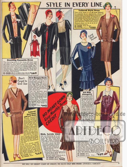 """""""Stil in jeder Linie"""". Damenkleider aus seidenartigem Chiffon-Samt, Woll-Flanell, Seiden-Georgette, Seiden Krepp und Woll-Georgette Krepp der gehobenen Preiskategorie. Spitzenkragen, Kunstblüten an der Schulter, wasserfallartige Stoffanordnungen und unauffällige Raffungen sind kennzeichnend. Ein dreiteiliges Ensemble bestehend aus Bluse, Rock und hüftlanger Jacke sowie zwei Modelle, die wie geschneiderte Kostüme gearbeitet sind, werden hier angeboten.Röcke mit eingearbeiteten Falten sind in der Überzahl. Zwei der Röcke sind zweistufig und fallen in runden Falten. Ein Kleid erzielt einen Ensemble-Effekt durch ein Überkleid, das wie ein Mantel getragen wird (oben Mitte)."""