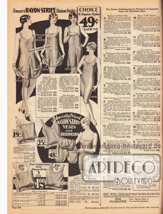 """Oben: Hemdhosen (engl. """"union suits"""") mit kurzen Ärmeln und Beinen aus Baumwolle und mit eingewebten, matt schimmernden Rayonfäden. Unten: Hemden, Pumphöschen und Leibchen ebenfalls aus Baumwolle und mit eingewebten, matt glänzenden Rayonfäden. Rechts: Beschreibungen für die Unterwäsche auf der folgenden Seite 167."""