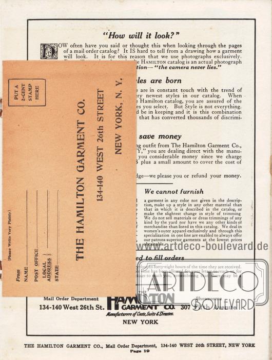Lose Beilage im Katalog: Vorderseite des Briefumschlages zum Abschicken der Bestellung. Maße des Umschlages: 15,3 x 8,7 cm / 6,02 x 3,43 in.