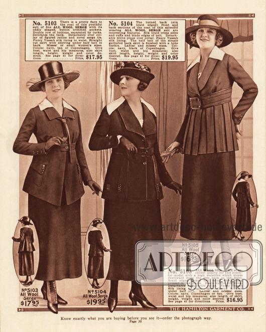 Hoch taillierte Kostüme mit hüftlangen Jacken und kurzen Revers aus reinem Woll-Serge. Allein die Jacken sind besonders unterschiedlich gearbeitet. Auffällig sind die sich weiß absetzenden Kragen aus Ratiné, Pikee oder Faille (grober Seidenstoff).