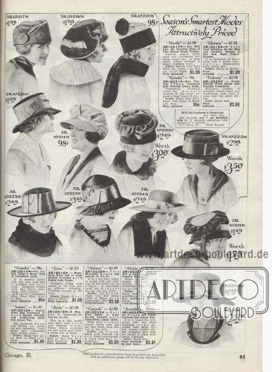 """""""Die pfiffigsten Hutmodelle der Saison zu attraktiven Preisen"""" (engl. """"Season's Smartest Modes Attractively Priced""""). Einfache aber schick gearbeitete, günstige Damenhüte aus Biber-Plüsch, Valvetta (?) und Chinchilla, Samt und Popeline, Seide, Filz oder """"Zibeline""""-Plüsch. Die Hüte sind dezent mit Ripsbändern, Schleifen, Zierknöpfen, gepufft drapiertem Stoff, Hutnadeln aus Metall, kleinen Pelzpompons aus Kaninchenfell oder Quasten aus Kordeln aufgearbeitet. Unter den Modellen befinden sich relativ hohe zylindrische Hutköpfe mit kurzen Krempen (3R10216M, 3R10222M) oder auch Modelle mit breiteren und gebogenen Krempen (3R10224M, 3R10219M), drei Turbane (3R10217M, 3R10220M, 3R10215M), eine Schottenmütze (engl. """"Tam-o-Shanter"""", 3R10218M) oder auch eine Mütze für Automobilistinnen (3R10214M)."""