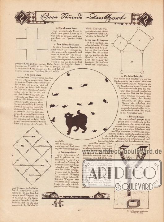 """""""Eine Stunde Denksport"""". Rätselseite mit folgenden Rätseln: 1. Ein schweres Kreuz, 2. Zum Schutz der Mäuse, 3. In einem Zuge, 4. Rangierproblem, 5. Der neue Pythagoras, 6. Der Schnellschreiber, 7. Silberfuchsfarm."""