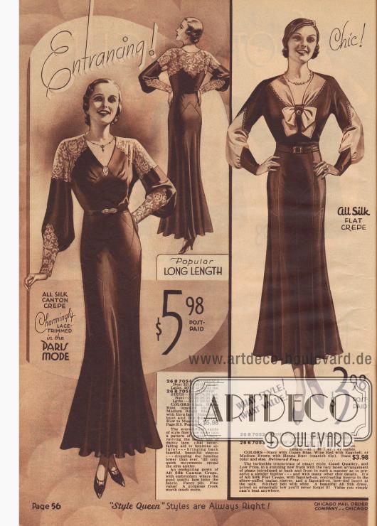 Doppelseite mit Kleidern von sportlich bis elegant. Ausgestellte Ärmel und auch Spitze (Kleid links) lassen die Mode der 1890er Jahre wieder aufleben.