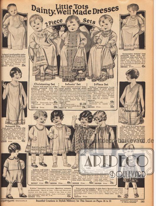 Säuglingskleidung und Kleidung für Kleinkinder. Oben werden lange Kleider aus Nainsook (leichter Musselin) sowie mit Spitze und Hohlnähten versehenen Röcke (hier Petticoats genannt) für Babys angeboten. Unten und an den Seiten befinden sich Unterröcke aus Nainsook für kleine Mädchen (links Mitte), vier Kleidchen (Petticoats) aus Nainsook und Voile (Schleierstoff) für 1 bis 3-jährige Mädchen, ein Unterwäschestück für Mädchen bestehend aus Bluse, Petticoat und Höschen (Mitte rechts) sowie zwei Spiel- und Strampelanzüge aus Chambray.